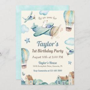 Cute Boy's Airplane Theme 1st Birthday Party Invitation