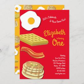 Cute Breakfast Brunch Kids 1st Birthday Party Invitation