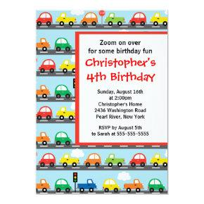 Cute Bright & Colorful Cars Birthday Party Invitations