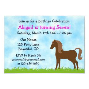 Cute Brown Horse Girls Birthday Invitation