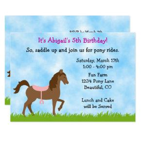 Cute Brown Horse, Pink Saddle Pony Party Birthday Invitation