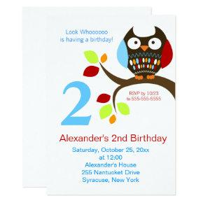 Cute Brown Owl Birthday Invitations