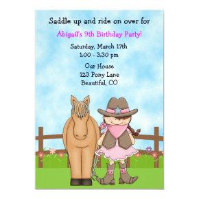 Cute Brunette Cowgirl and Horse Birthday Invite