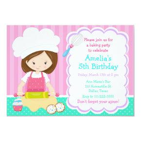 Cute Brunette Girl Baking Birthday Party Invitation