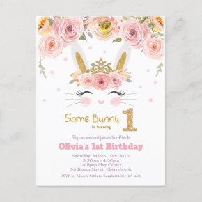 Cute Bunny Rabbit 1st Birthday Pink Floral Invitation Post
