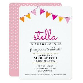 CUTE BUNTING 1ST birthday party INVITE pink orange