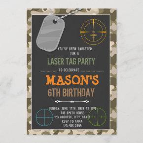 Cute camo laser tag birthday invitation