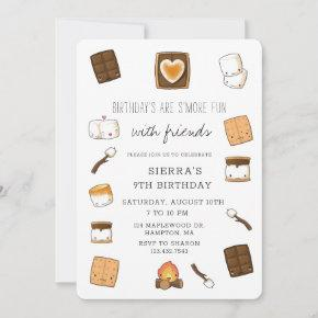 Cute Camping S'Mores Bonfire Birthday Party Invitation