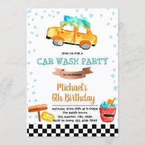 Cute car wash party birthday invitation