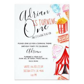 Cute carnival circus kid party invitiation invitation