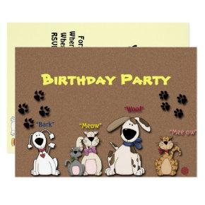 Cute Cats & Dogs Birthday Party Invitation