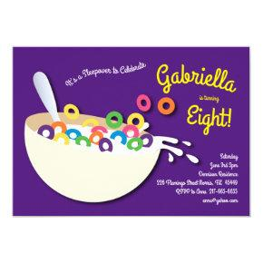 Cute Cereal Bowl Kids Sleepover Birthday Party Invitation