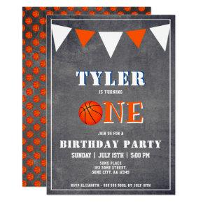 Cute Chalkboard Basketball 1st Birthday Invitation