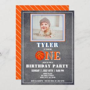 Cute Chalkboard Basketball Photo 1st Birthday Invitation