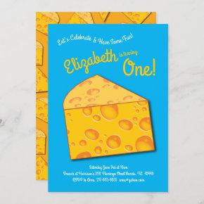 Cute Cheese Wedge Kids 1st Birthday Party Invitation