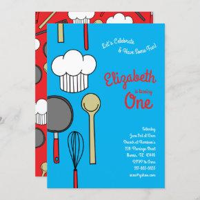 Cute Chef Cooking Kids 1st Birthday Party Invitation