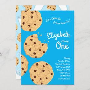 Cute Chocolate Chip Cookie Kids 1st Birthday Party Invitation