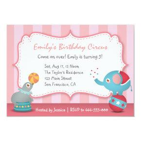 Cute Circus Animals Theme Birthday Party, for Kids Invitations