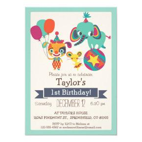 Cute Circus Elephant, Puppy Kid's Birthday Party Invitations