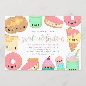 Cute Colorful Kawaii Sweet Elements Kids' Birthday Invitation