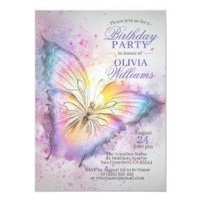 Cute Colorful Watercolor Butterfly Birthday Party Invitation