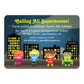 Cute Colourful Superhero Birthday Party For Kids Card
