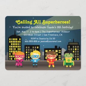 Cute Colourful Superhero Birthday Party For Kids Invitation