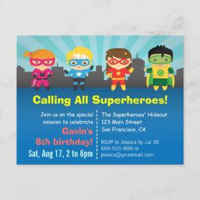 Cute Colourful Superhero Birthday Party Invitation