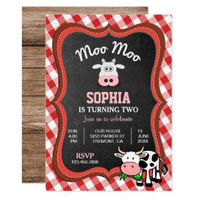Cute Cow Farm Kids Birthday Party Invitation