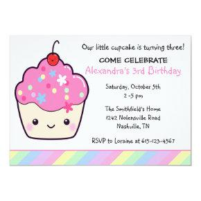 Cute Cupcake Birthday Invitation