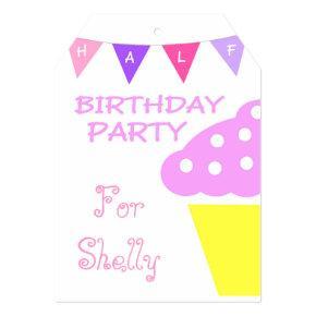 cute cupcake half birthday party invitation