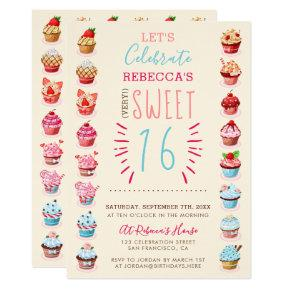 Cute Cupcakes | Very Sweet Sixteen Birthday Party Invitation