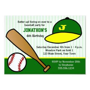 Cute Custom Baseball Birthday Party Green & Yellow Invitations