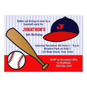 Cute Custom Baseball Birthday Party - Red and Blue Invitation