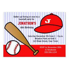 Cute Custom Baseball Birthday Party Red and White Invitation