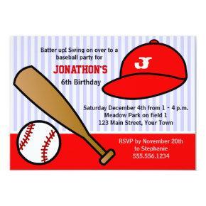 Cute Custom Baseball Birthday Party Red and White Invitations
