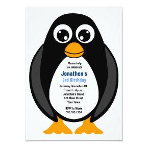 Cute Custom Birthday Party Penguin Invite - White