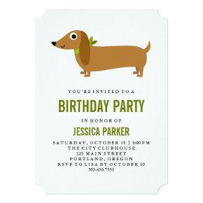 Cute Dachshund Puppy Dog Birthday Party Invitation