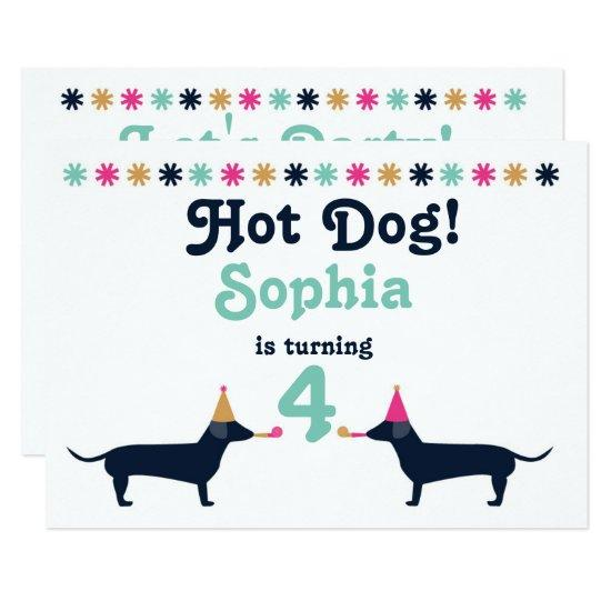 Cute Dachshund Wiener Dog Birthday Invitation Candied Clouds