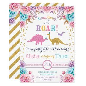 Cute Dinosaur Birthday Invitation for Girl