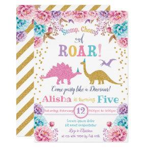 Cute Dinosaur Birthday Invitation Girl