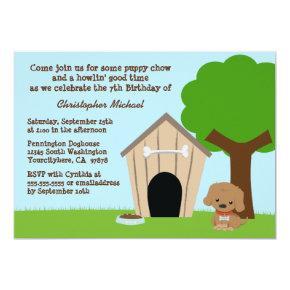 Cute doggie house boy's birthday party invitation