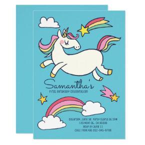 cute birthday doodle rainbow unicorn and stars invitations
