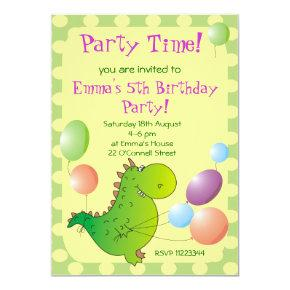 Cute Dragon Kids Party Invitation,Children's Party Invitation