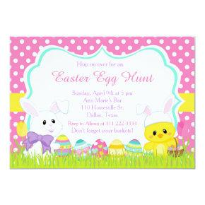 Cute Easter Bunny and Chick Easter Egg Hunt Invitation