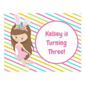 Cute Easter Fairy Girl Birthday Party Invitation Post