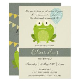 CUTE ELEGANT GREEN BLUE FROG KID BIRTHDAY INVITE