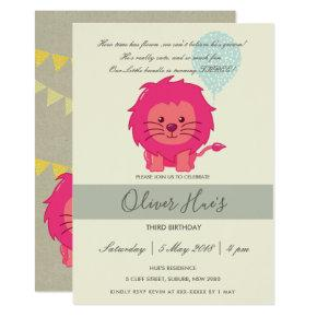 CUTE ELEGANT GREEN PINK LION KID BIRTHDAY INVITE