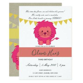 CUTE ELEGANT KRAFT PINK LION KID BIRTHDAY INVITE
