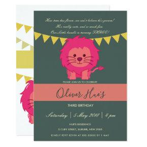 CUTE ELEGANT YELLOW PINK LION KID BIRTHDAY INVITE